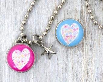 kids necklace, kids jewelry, heart charm, pink heart/flowers, #21, kids accessories, pendant, Interchangeable photo jewelry