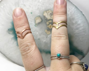Midi Ring | Geometric ring | Statement jewelry | raw brass rings | raw copper ring | middle finger ring | triangle ring | geometric style