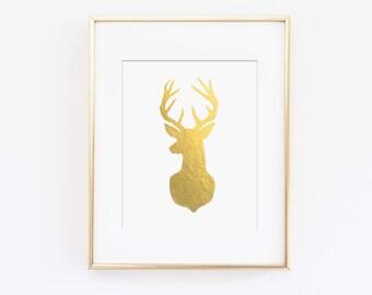 Gold Stag Head, Faux Gold Foil, Deer Head, Printed Wall Art, Wild Adventures, Woodland Nursery Theme, Printed Wall Art, Kids Bedroom Art