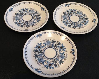Vintage Noritake Plates <> Set of 3 <> Blue Moon Progression China <> Blue Floral <> Bread & Butter Plates <> 1970's <> EXCELLENT CONDITION