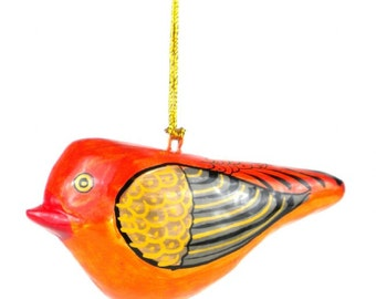 Handcrafted Orange Paper Mache Bird