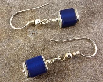 Earrings with pol ARIS cubes, Pol ARIS earrings, Silver earrings, dark blue, cubes, sterling silver, 925 Silver, Polaris cubes, gift friend