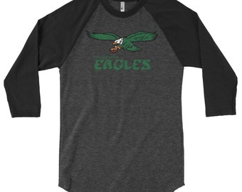 Mens Retro Old School Philadelphia Eagles Inspired 3/4 Sleeve Raglan Shirt