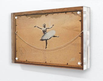 Banksy - Ballerina Back Of Frame - Acrylic Block Photo Frame