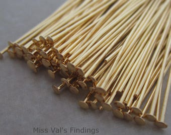 200 gold plated 1.5 inch headpins 21 gauge