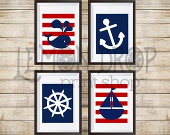 Nautical wall art set for boys nursery or bedroom, wall decor Red and Navy sailboat, whale, anchor, ships wheel