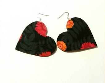 Fabric Heart Earrings 1