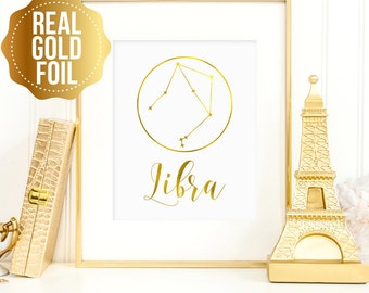 Libra print, Libra constellation, Gift for Libra, Libra Zodiac, Libra real gold foil print, Libra constellation art, real gold foil wall art