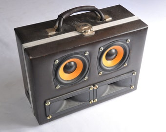 Vintage Suitcase Stereo Boombox - 20w Amp - Made from Mid Century Modern Cassette storage box