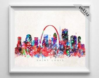 saint louis skyline missouri print watercolor painting st louis art cityscape - Home Decor St Louis Mo