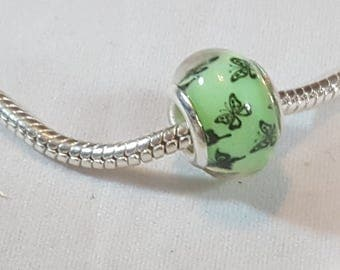 Butterfly Design on Green Resin Bead  Fits all Designer and European Charm Bracelets*