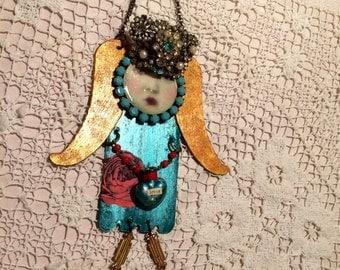 mixed media angel on reclaimed metal - Angel art - Floras Adoras - Nursery decor - valentine metal angel - art assemblage angel - angel