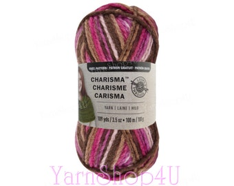 SALE! CHOCOLATE CUPCAKE Charisma Loops and Threads. Bulky Weight Yarn. Brown and Pink Ombre Yarn. 3.5oz 109yds. Thick Soft Acrylic Yarn.