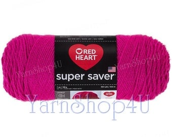 SHOCKING PINK, Red Heart Super Saver. A Large skein of Pink Acrylic Yarn. 100% Acrylic Economic Yarn. No Dye Lot. Cheap Yarn 370yds | 7oz