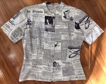 Novelty newsprint 1950's blouse with diamond buttons