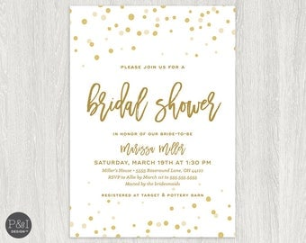 Bridal Shower Invitations | White and Gold Shower Invitations | Digital File 5x7