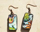 "Earrings, ""Desire flowers.."", polymer clay, mokume, unique, handmade, handpainted"