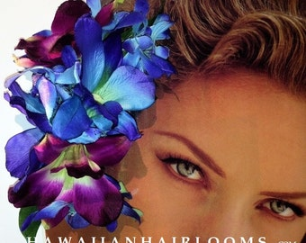 BLUE ORCHIDS HAIR clip-Tropical orchids hair,Hawaiian flowers clip,Dendrobium,Hula flowers,Pinups clip,Bridals,Beach,blue flowers,Hawaii.