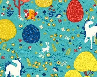Unicorn Fabric, Timeless Treasures You Are Magical C5900, Fox, Bunny, Hedgehog, Unicorn Quilt Fabric, Fantasy Fabric, Cotton Fabric Yardage