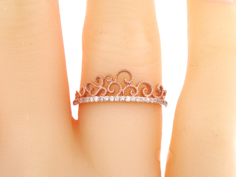 14K Rose Gold Diamond Crown Ring Fashion Ring Right Hand Ring ...