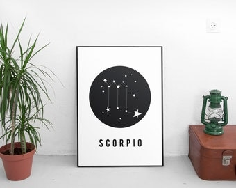 Printable artwork,Scorpio Zodiac Print, Printable astrology,Scorpio Zodiac Sign,Zodiac Art,Astrology Print , Horoscope, Geometric