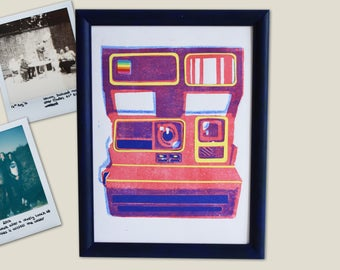 Polaroid 600 Linocut Print - with paper details