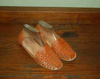 Men Size 9 1/2 Vintage Woven Brown Huaraches