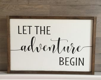Let the Adventure Begin // Framed Wood Sign // Nursery Decor // Nursery Sign // Farmhouse Decor // Rustic Wood Sign // Farmhouse Sign