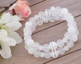 Wedding Bracelet - Beaded Wrap Bracelet - White Bracelet - Destination Wedding - Wedding Accessory