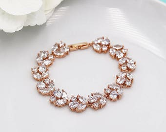 Bridal Bracelet Rose Gold, cz wedding bracelet, rose gold cubic zirconia bracelet, bridal jewelry, bridal accessories, bracelet 524744679