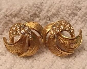 Givenchy Brushed Gold Tone Rhinestone Stud Earrings, Givenchy Gold Stud Earrings, Designer Earrings, Givenchy, Gold Rhinestone Earrings
