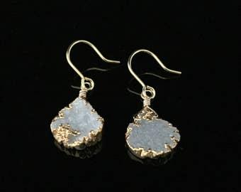 Dangly White Druzy Earrings // Bezel Set in 18k Gold Vermeil with Gold Fill Ear Wires