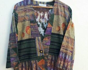 Vintage Cotton Print Blazer / Cotton Jacket Size M - L