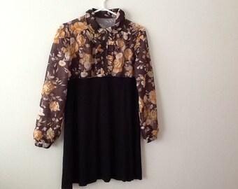 Upcycled Clothing Refashioned Retro Shabby Romantic Repurposed Blouse Top Tunic Dress. Women's Size Medium.