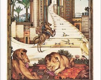 Arabian Nights illustration Lions Prince Assad on Horse fairy tale Julius Detmold 1922 vintage