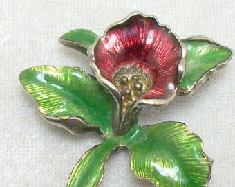 Orchid Flower Enamel Brooch - Magenta and Green - Vintage 40s 50s Retro Floral Jewelry