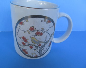 Ceramic Coffee Mug - Cup - Gold Rimmed - with Bird on  Flower Branch