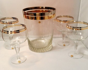 VTG Rumania 1940's Deco Crystal Ice Bucket 4 Goblets NEVER USED Orig Labels