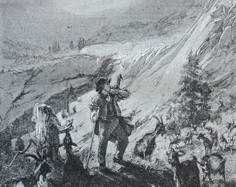 Swiss goat-herd print. Old book plate, 1870. Antique  illustration. 147 years lithograph. 10'24 x 7'09 inches.