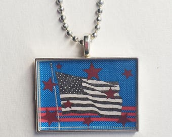 Flag Necklace, American, Resin Pendant, Patriotic Jewelry, Red White Blue, Stars and Stripes, 4th of July Charm, Americana, Veteran's Day