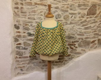 blouse ball yellow and green shell pattern, T:5ans