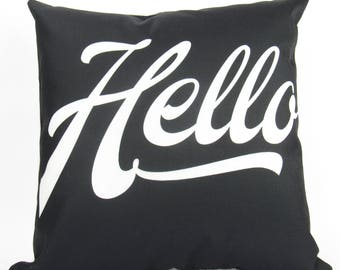 Hello on Black with White Writing - Pillow Cover