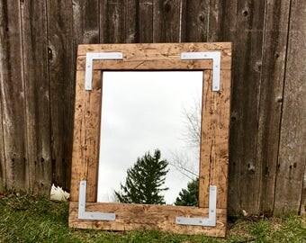Mirror Handmade Rustic Mirror Bathroom Mirror Framed Mirror Large Mirror Wall