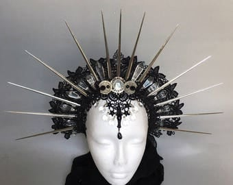 Halo of Moon Goddess II - Gothic headpiece - headpiece with spikes - pagan headpiece - tribal headpiece - witches headpiece