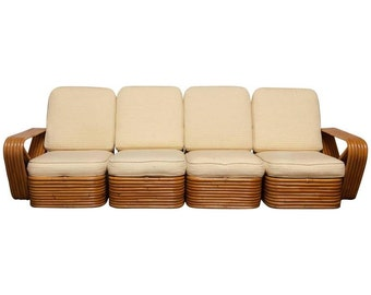 Square Pretzel Rattan Sectional Sofa by Paul Frankl