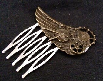 Silver Metal Hair Comb Featuring Antiqued Brass Wing With Gears, Steam Punk Style