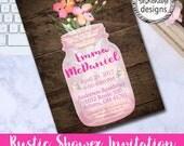 Rustic Shower Invitation, Mason Jar Invitation, Bridal Shower, Baby Shower