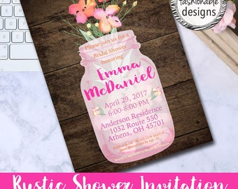 Rustic Shower Invitation, Mason Jar Invitation, Bridal Shower, Baby Shower