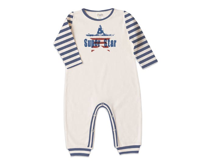 Baby Boy Fourth of July Outfit, Newborn Boy Coming Home, Independence Day, Baby Boy Bodysuit Gift, Patriotic Baby, Super Star, Tesababe