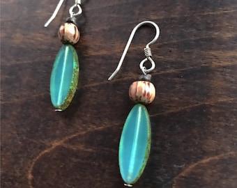 Sterling Silver Czech Glass Longboard Earrings